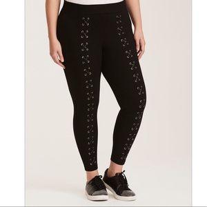 TORRID Black Lace Up Front Luxe Legging Pant